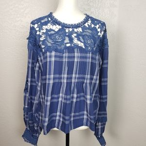 Free People Darling Diane Plaid Lace Top Med NWT